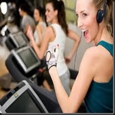 happy treadmill lady