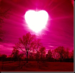 sun in shape of heart